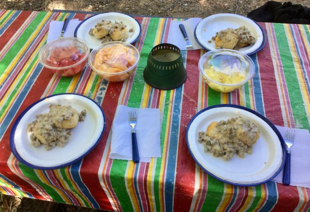 Easy camping breakfasts, camping meals, biscuits and gravy, Cheers Nature