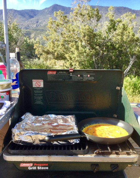 East camping meals, breakfasts, bacon and eggs