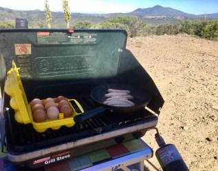Easy breakfast camping meals, camp kitchen, Mt. Laguna, Laguna Mountains