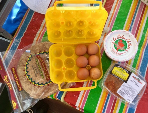 Easy camping breakfasts, meals, chorizo and eggs